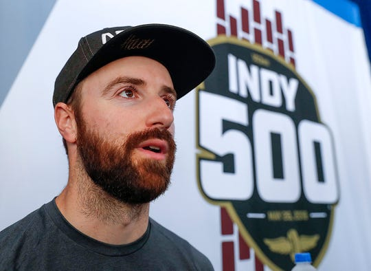 James Hinchcliffe (5) of Arrow Schmidt Peterson Motorsports during media day for the Indianapolis 500 at the Indianapolis Motor Speedway on Thursday, May 23, 2019.