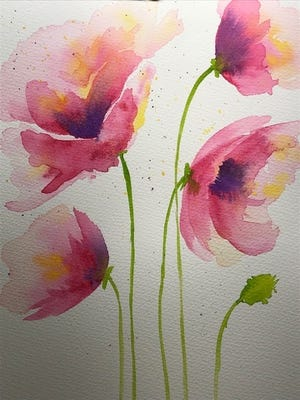 "This watercolor, ""Tall Poppies,"" was painted by local artist Becky Ross."