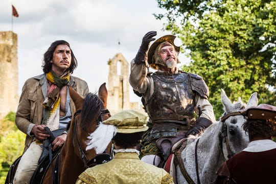 """Toby Grison (played by Adam Driver) and  Don Quixote (played by Jonathan Pryce) in a screenshot from Terry Gilliam's """"The Man Who Killed Don Quixote."""""""