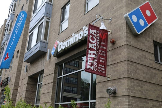 Domino's Pizza is located at 311 East Green St. in the Gateway Commons building.
