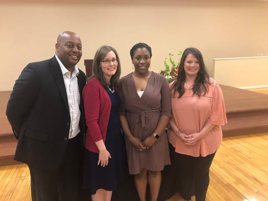 Dr. Eric Jones stands with the Teacher of the Year for the elementary, middle and high school grade levels. Pictured, l to r, is Breanne Oldham (high school), Veronica Sesson (elementary) and Michelle York (middle school).