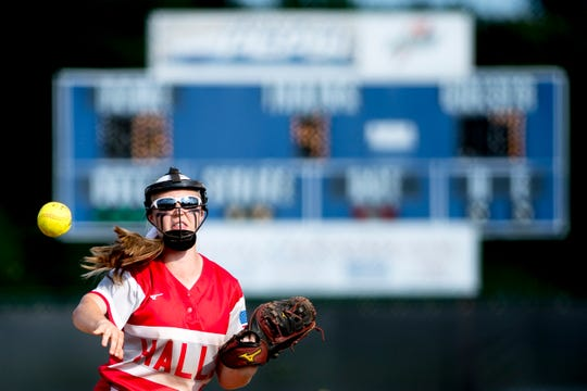 Halls' Madisyn Thacker (7) throws the ball infield during a Class AAA softball game between Halls and Ooltewah at the TSSAA state championships in Murfreesboro, Tennessee on Wednesday, May 22, 2019.