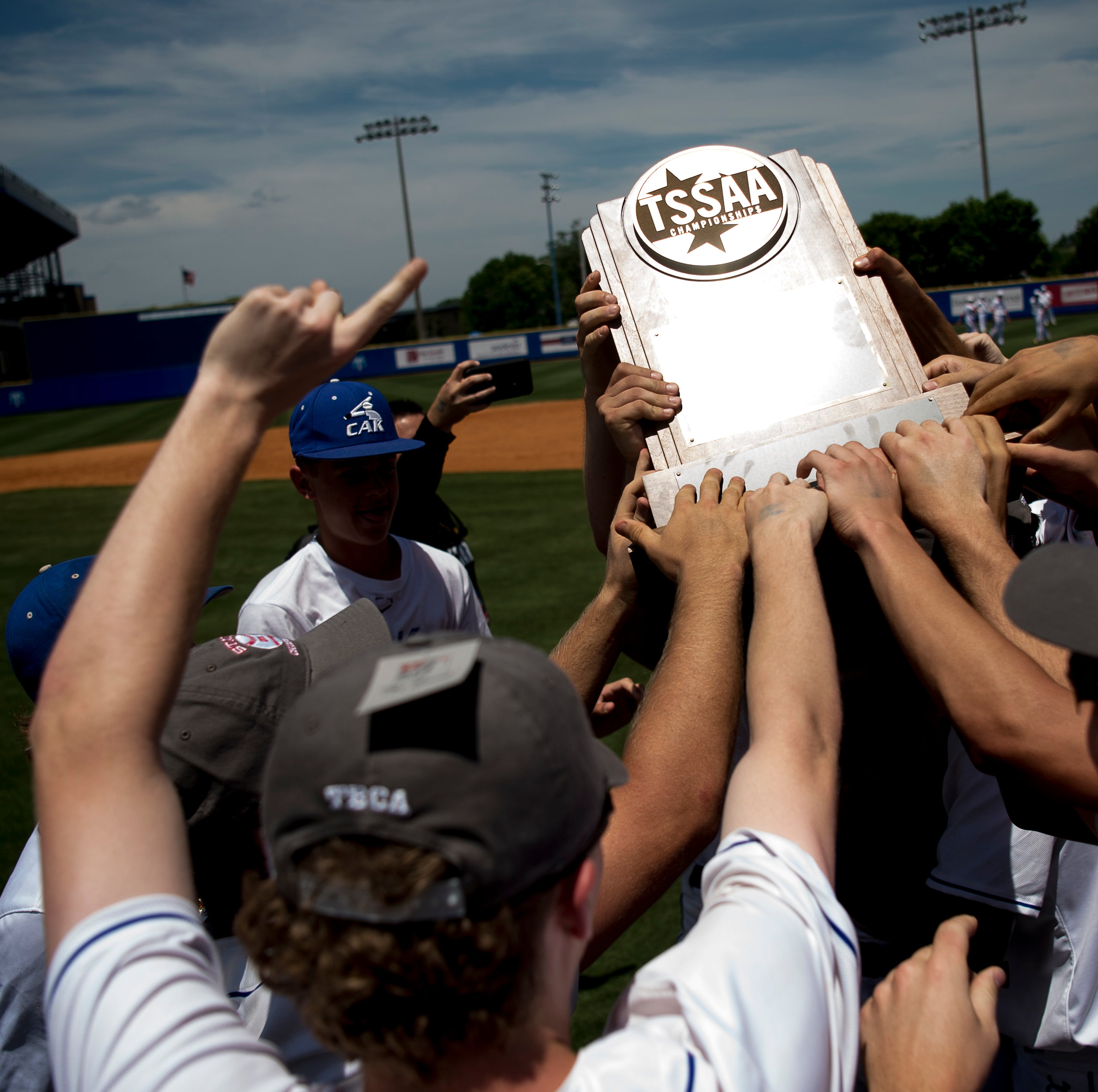 CAK celebrates their 3-2 win over CPA during a Division II-A championship game at the TSSAA state championships in Murfreesboro, Tennessee on Thursday, May 23, 2019.
