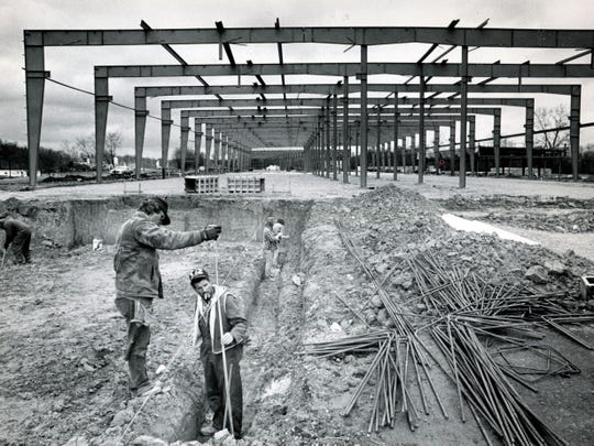 Construction of the Sea Ray Boats plant at Forks of the River in 1987. The plant closed in 2012.