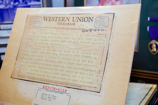 Pvt. Farrell Vice is being honored at Acadian Museum in Erath Friday, May 24, 2019, 50 years after he was killed in action in Vietnam. A photo album of his mother's is part of a display about Vice in the museum and includes this telegram to his mother, Alice Vice.
