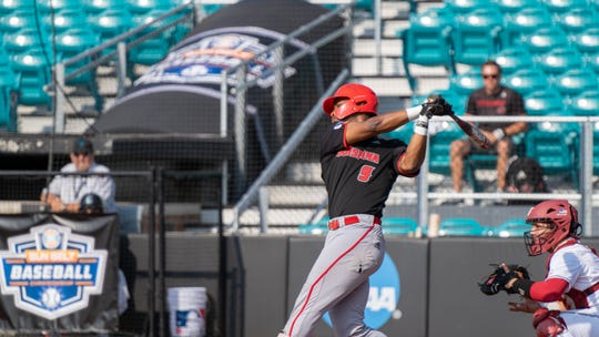 Todd Lott takes a swing Thursday morning, as UL fell to Troy in the Sun Belt Baseball Tournament in Conway, South Carolina.