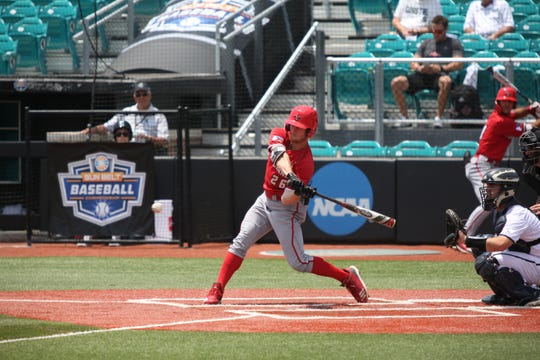 UL's Daniel Lahare swings for a hit as the Ragin' Cajuns take on Georgia Southern in the Sun Belt Conference Tournament Wednesday in Conway, South Carolina. The Cajuns fell 6-5 in 13 innings, and now must win five straight games to capture the title.