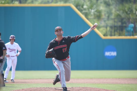 Gunner Leger pitches Thursday, as UL fell to Troy in the Sun Belt Baseball Tournament in Conway, South Carolina.