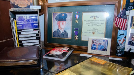 Pvt. Farrell Vice is being honored at Acadian Museum in Erath Friday, May 24, 2019, 50 years after he was killed in action in Vietnam. A photo album of his mother's is part of a display about Vice in the museum.