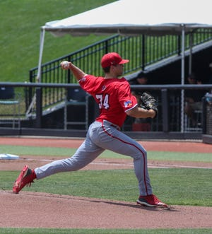 UL lefthander Grant Cox got the start for the Ragin' Cajuns as they played Georgia Southern in the Sun Belt Conference Tournament Wednesday in Conway, South Carolina. Cox allowed three runs on three hits with four strikeouts and a walk in 7 and two-thirds innings.