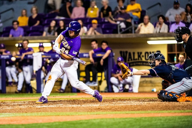 LSU first baseman Cade Beloso swings at a pitch during the Tigers' SEC Tournament game vs. Mississippi State on Wednesday, May 22.