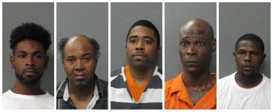 From left to right:  Trane Boudreaux, Joseph Handy Jr., Nicholas J. Hands, Calvin Noel III and Marcel Kelly.