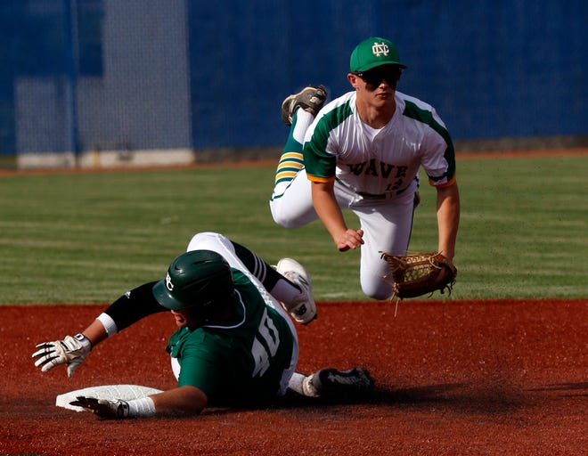 Fisher Catholic's Justin Starkey breaks up a double play against Newark Catholic during the 2019 Division IV district final at Beavers Field. Starkey was the lone returning senior this year for the Irish.