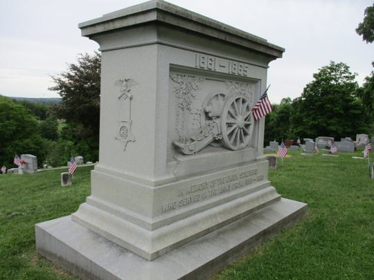 The Ben Butterfield Post of the G.A.R. contracted with Danison Bros. Monumental Works to create a soldiers' monument in memory of Union soldiers for the summit of Forest Rose Cemetery. The 25 ton granite monument required 22 horses to haul it to the site. The unveiling was held Sept. 26, 1918.