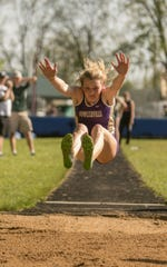 Fowlerville's Mackenzie Brigham won the long jump in the CAAC Red track and field meet in Mason on Wednesday, May 22, 2019.