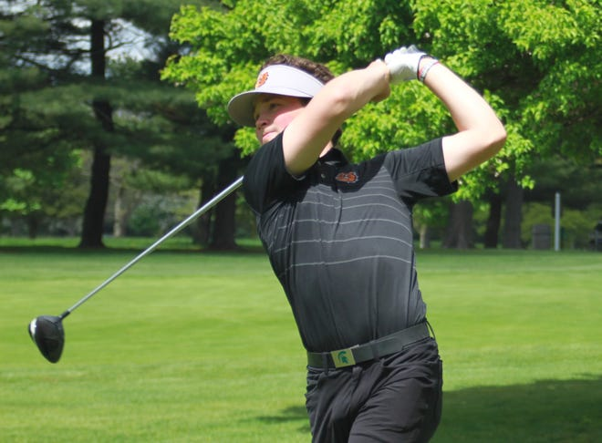 Brighton's Davis Codd shot 78 in the KLAA golf tournament at Kensington Metropark Golf Course on Thursday, May 23, 2019. Codd tied for first when combining both league tournaments.