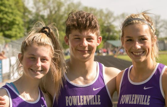 From left, siblings Avery, Kaleb and Kyla Chappell of Fowlerville have qualified for the state Division 2 track and field meet Saturday in Zeeland.