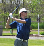 Hartland's Ryan Gniewek tees off during the KLAA golf tournament at Kensington Metropark Golf Course on Thursday, May 23, 2019.