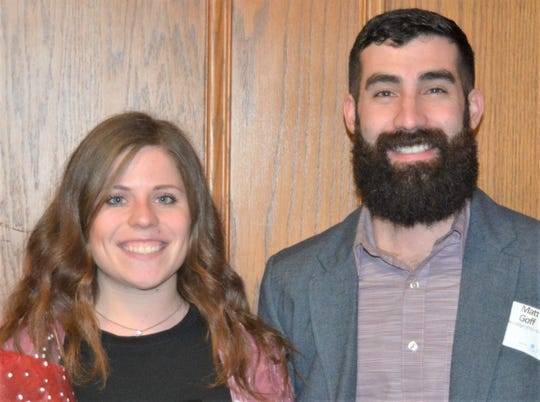 Lexi Otis (left), Healthiest Manitowoc County, 2018 Cooperation Award winner, and Matt Goff, Silver Lake College of the Holy Family, sponsor of the Cooperation Award.