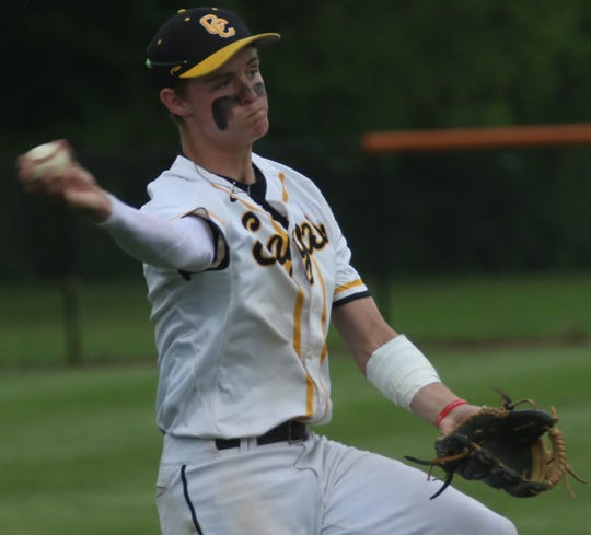 Colonel Crawford's Cade Hamilton delivered three hits in the Eagles 6-3 win over Plymouth in the district semifinal on Wednesday.