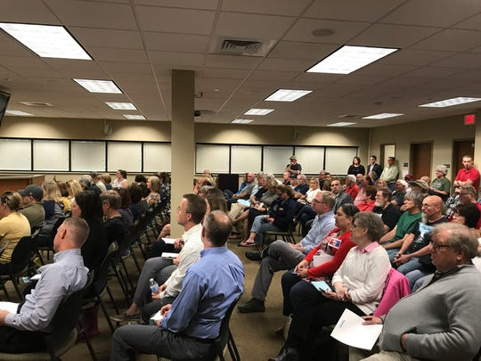 A standing-room only crowd fills the room at Delafield City Hall to hear from state Sen. Chris Kapenga during a May 22 town hall meeting.