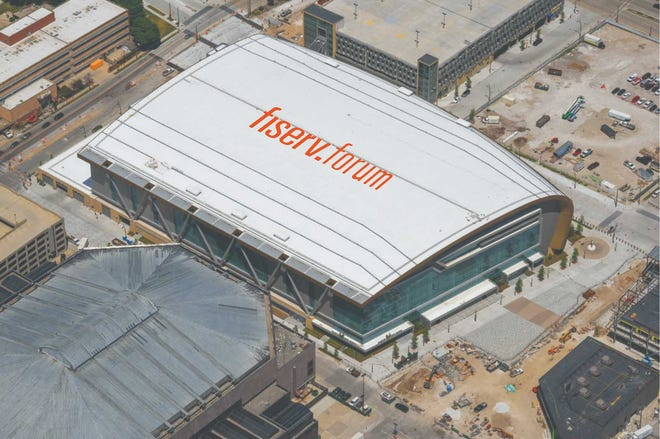 An aerial-view sign atop Fiserv Forum is likely to be installed by September.