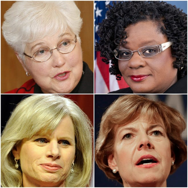 Four Wisconsin women who made political history tell their stories (clockwise from upper left): Margaret Farrow, Gwen Moore, Tammy Baldwin and Mary Burke.