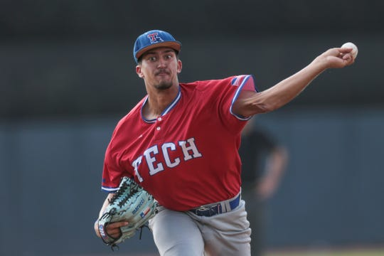 Louisiana Tech senior pitcher David Leal (36) throws a pitch versus Rice during an elimination game at the 2019 Conference USA Baseball Tournament at MGM Park in Biloxi Thursday, May 23.