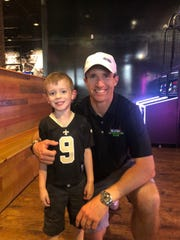 Brees Morgan, 5, got to meet his namesake Drew Brees on Tuesday at Walk-On's Bistreaux & Bar in West Monroe.