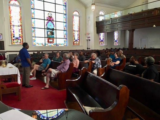 Guests visit First Baptist Church on Ripley Street on Saturday, May 18, 2019, as part of the Freedom Rides Museum commemoration of the 58th anniversary of Freedom Rides with History Bus Tour.