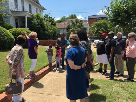 Dr. Valda Harris Montgomery with the Harris Home on Saturday, May 18, 2019.  This was part of the 58th anniversary of Freedom Rides with History Bus Tour.