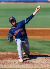 Auburn's Kyle Gray throws a pitch during the first inning of an SEC Tournament game against Vanderbilt, Wednesday, May 22, 2019, in Hoover, Ala.