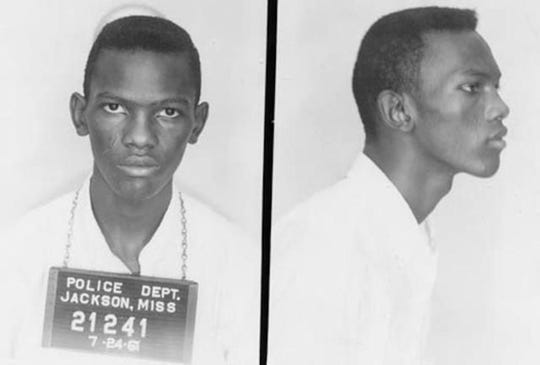 Mugshot taken in 1961 16-year-old Alphonso Petway, who was arrested with his family at the Jackson, Mississippi airport for going into areas designated for whites only.