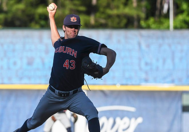 Auburn's Richard Fitts pitches against Vanderbilt at the SEC Tournament on May 22, 2019, in Hoover, Ala.
