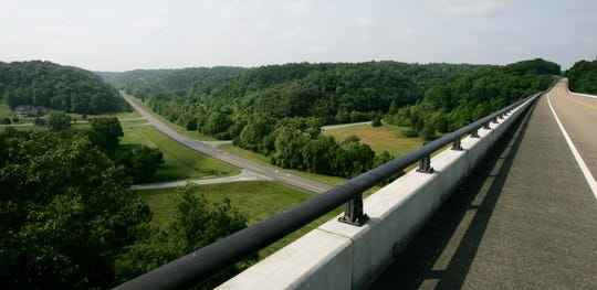 A view from the Natchez Trace Bridge in Franklin.