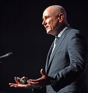 Air Force One pilot, Mark W. Tillman speaks about  piloting  the President on 9/11 to a crowd at Rocketown during Nashville Honor Week Thursday, May 23, 2019, in Nashville, Tenn.