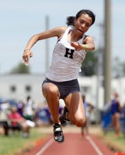 Houston's Kyla McLaurin competes in the triple jump during the 2019 TSSAA Division I Large track meet at Dean Hayes Stadium in Murfreesboro Thursday, May 23, 2019.