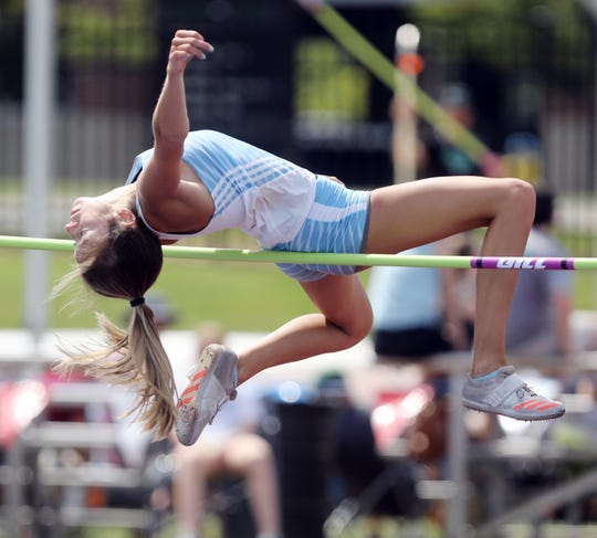 Avery McMullen of Centennial competes in the High Jump during the 2019 TSSAA Division I Large track meet at Dean Hayes Stadium in Murfreesboro Thursday, May 23, 2019.