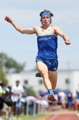 Brentwood's Jett Kinder competes in the long jump during the 2019 TSSAA Division I Large track meet at Dean Hayes Stadium in Murfreesboro Thursday, May 23, 2019.