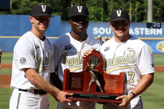 A.J. Franklin, Vanderbilt, LHP: Vanderbilt players A.J. Franklin, Kiambu Fentress and Walker Grisanti pose with the SEC regular-season championship trophy, presented before the SEC Baseball Tournament game against Auburn. All three are Tennessee natives and in their fourth academic year at Vanderbilt.
