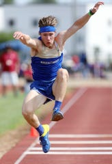 Brentwood's Jett Kinder competes in the triple jump during the 2019 TSSAA Division I Large track meet at Dean Hayes Stadium in Murfreesboro Thursday, May 23, 2019.