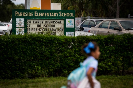 A child walks home after school at Parkside Elementary School in Naples on Tuesday, May 21, 2019. Hector Manley, a former Parkside Elementary School teacher, has been accused of 20 counts of lewd and lascivious molestation and two counts of capital sexual battery against someone younger than 12. Children told investigators that Manley touched them inappropriately at school and at soccer practice, where he was a coach for a local team.