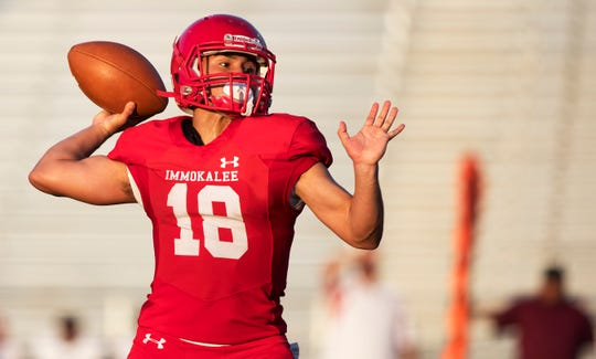 Immokalee High School's R.J. Rosales passes against Clearwater Superior-Collegiate in a spring game at Immokalee on Wednesday. Immokalee beat  Clearwater Superior-Collegiate 21-14.