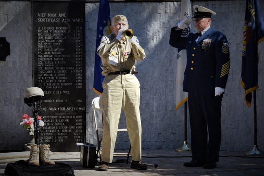 Bob McDonald, of Fort Myers, plays the bugle to honor veterans. McDonald played the bugle at veterans' funerals and patriotic events,including Memorial Day, across Collier County for 15 years. He served in the Army Air Force during World War II and died on May 4, 2019, at 95.