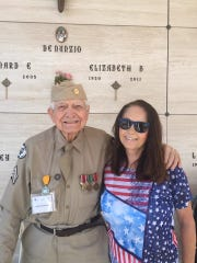 Bob McDonald and his stepdaughter Colleen Kolb pose for a photo. McDonald of Fort Myers, played the bugle at funerals and other events involving veterans across Collier County for 15 years. He served in the Army Air Force during World War II and died on May 4, 2019, at 95.