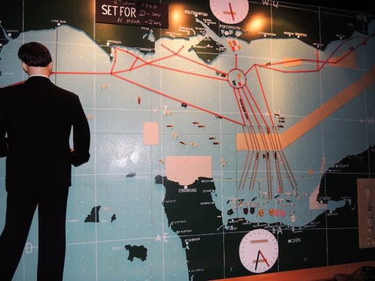 The ballroom of Southwick House, now part of a military base in England, still holds the wall-to-ceiling map of the British coast assembled for World War II.