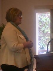 New Pataskala United Methodist Church pastor, Nikki Baker, speaks to Chamber members May 21.