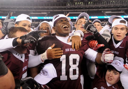 Don Bosco's Jabrill Peppers and teammates celebrate their win over Bergen Catholic at MetLife Stadium in 2011.