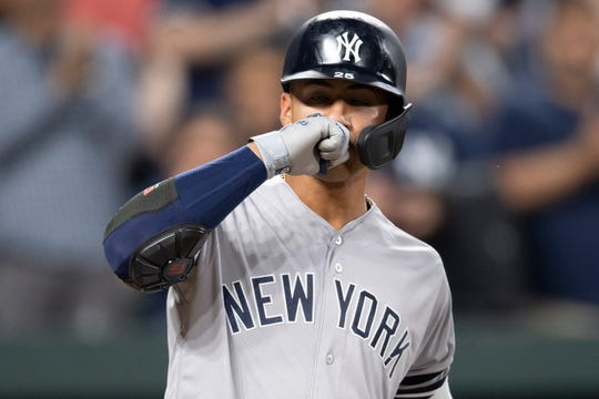 May 22, 2019; Baltimore, MD, USA;  New York Yankees shortstop Gleyber Torres (25) reacts after hitting a solo home run in the fifth inning against the Baltimore Orioles at Oriole Park at Camden Yards. Mandatory Credit: Tommy Gilligan-USA TODAY Sports