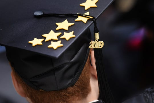 A close up photo of a graduate's decorated hat is seen during the Bergen Community College 2019 Commencement at MetLife Stadium in East Rutherford on 05/23/19.